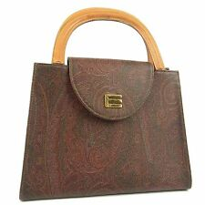 Auth ETRO Paisley Pattern PVC Leather Hand Bag Brown 17910jSaM