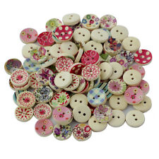 100 Printed Round Wooden Button for Sewing Scrapbooking Embellishments Craft
