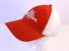 Vintage Old Milwaukee Beer Trucker Snapback Hat Baseball Cap Red White Mesh Hip