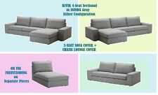IKEA Kivik 3-Seat PLUS Chaise Lounge Sofa Cover Isunda Gray Slipcover NEW Tweed