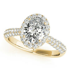 1.25 CT FOREVER BRILLIANT MOISSANITE OVAL MICRO PAVE HALO ENGAGEMENT RING