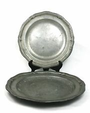 Antique 18th C. Pewter Plates Chargers Pair William ? London Crowned Rose