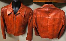 Sharp Vintage Grais Angel Skin Nappa Leather Vintage Zip Up Jacket Coat 42R  o50