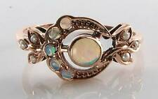 LUSH 9K 9CT ROSE GOLD VICTORIAN ART DECO INS OPAL & PEARL MYSTIC SUN & MOON RING