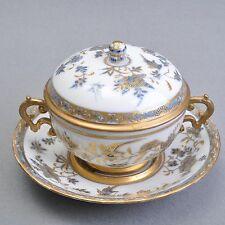 Meissen Blumen und Vogel Malerei, seltene Deckeltasse um 1760, kobaltblau & gold