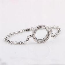 Rhinestone Photo Locket Bracelet Sweet Living Memory Floating Charm Round Frame
