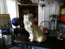 VTG. Giant White Plaster Persian Blue Eyes Cat Bank H 22""