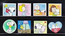 JAPAN 2010 SNOOPY OF PEANUTS COMIC GREETING COMP. SET OF 8 STAMPS IN FINE USED C