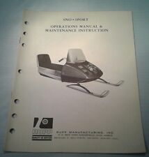 1960s RUPP OPERATION MANUAL Maintenance Instruction SNO SPORT Snowmobile ORIGNAL