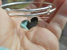 925 Sterling Silver Heart Love Engravable Charm Bangle Bracelet Expandable