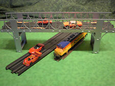 Steel HO slot car / train 2-lane bridge for most popular brands.