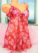 Private Luxuries Red Floral Rose Chiffon Satin Sissy Camisole Nightie sz S
