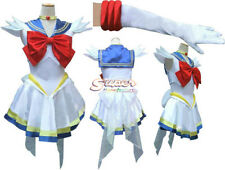 Super Sailor Moon Sailormoon White Serena Dress Cosplay Costume,Whole Set