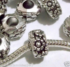 50 pc Lot EUROPEAN CHARM METAL flowers SPACER BEADS for bracelet D10