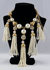 Statement Bib Pearl Necklace Tassels Crystals Adjustable Gold Tone Cable Chain