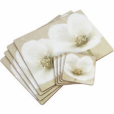 Set of 4 White Helleborus Floral Dining Table Placemats & Coasters Tablemats Mat
