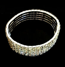 Stunning! 5 Row CRYSTAL DIAMANTE RHINESTONE Stretch Sport Evening Bracelet 621