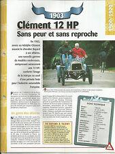 FICHE AUTOMOBILE DESCRIPTIVE - TECHNIQUE - CLEMENT 12 HP DE 1903