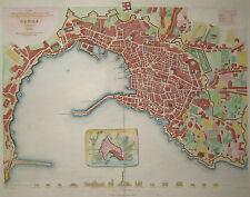 Genoa. Genova. Genes. - Plan von W.B. Clarke - Original Kupferstich von 1836
