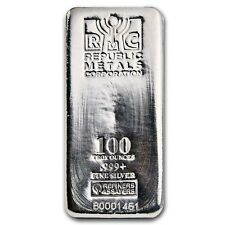 SPECIAL PRICE! 100 oz Silver Bar Republic Metals Corporation (RMC) - SKU #90371