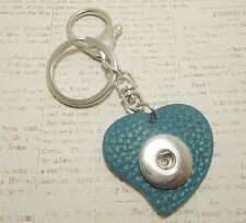 Snap Button Pop It In Noosa Style Heart KEYCHAIN Full Grain Leather Blue Love