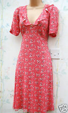 SIZE 8 10 40s LANDGIRL VINTAGE WW2 STYLE CHERRY PRINT TEA DRESS ~ US 6 EU 36 38