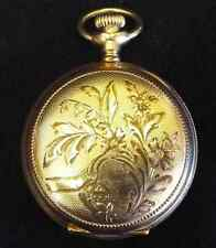 Nice OLD Antique Victorian Elgin POCKET WATCH Duchess Hunter Case Porcelain Dial