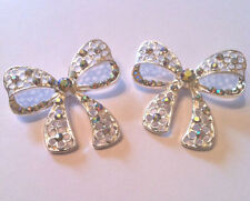2 x Butterfly Bow Buttons Crystal Rhinestone AB Bridal Wedding Dress Shank 40mm