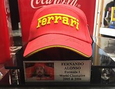 FERNANDO ALONSO SIGNED CAP IN DISPLAY CASE