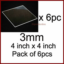 "Acrylic Sheet / Plexi Glass Transparent 4"" x 4"" x 3mm- 4 inch x 4 inch PACK OF 6"