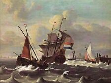 PAINTING MARITIME BAKHUIZEN THREE MASTED DUTCH SHIP ART PRINT POSTER LF1653