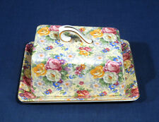 Lord Nelson Ware Chintz China ROSE TIME Covered Wedge Cheese Butter Dish w/ Lid