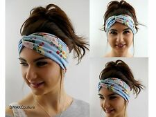 Cotton Jersey HeadBand Turban Blue English Rose Yoga Head Wrap High quality