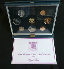 1984 Royal Mint UK Proof 8 Coin Year Set Cased with COA £1 coin to last 1/2p