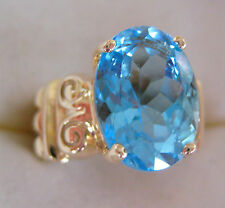 ESTATE BOLD BLUE TOPAZ SOLID 10K YELLOW GOLD RING