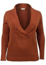 New Women ladies gorgeous knitted rust shawl V neckline jumper top size 20