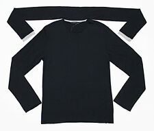 $328 DIWON Attached-Scarf Cashmere-Silk Rib Black Long-Sleeve Tee T-Shirt Large