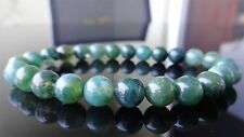 "Genuine Emerald Green Moss Agate Bead Bracelet for Men (On Stretch) 8mm 8"" inch"
