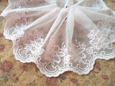 "1Yard ~5""~Cotton Embroidered Venice Lace Trim Floral Bridal Wedding Dress Pink"