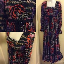 Exceptional 60's Lilly Pulitzer Black Empire Black Colorful Print Sheer Sleeve M
