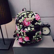 Women Girls PU School Shoulder Bag Travel Backpack Rucksack Retro Floral Design