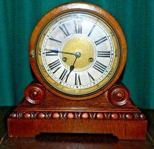 Vtg Art Deco HAC Crossed Arrows Wurttemberg Mantle Clock Tiger Oak Case Working