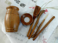 5 CHINESE TEA TOOL IN PADAUK WOOD INLAID CONTAINER SET JAPANESE NEW YEAR PARTY