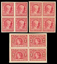 Scott 368,371 1909 2¢ Imperforate Issue Mint Line Blocks of Four VF OG Cat $360