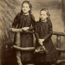 1880s SISTERS MATCHING OUTFITS CABINET CARD PHOTO VICTORIAN ANTIQUE SOUTHAMPTON