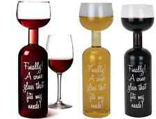 NEW WINE BOTTLE GLASS - HOLDS A WHOLE BOTTLE 750ML TRANSPARENT FANTASTIC GIFT