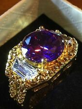 Millionaire 18CT YELLOW GOLD GF MEN,S AMETHYST TOPAZ QUARTZ RING SIZE 9 US