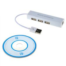Ethernet USB to RJ45 Lan Network Adapter 3 Port Hub Cable White FAST SHIPPING