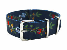 HNS ZULU MoD G10 20mm Double Graphic Fashion Flowers Navy BG Nylon Watch Strap