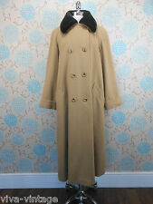 Vintage 1980s Ladies Extra Long Camel Brown Wool Coat Faux Mink Fur Collar 12